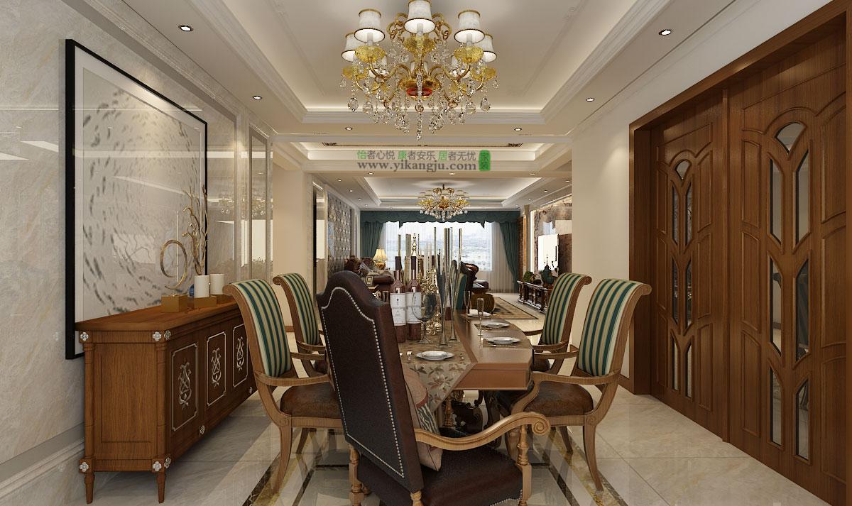 餐厅减掉复杂的欧式护墙板使用提炼过的石膏线勾勒出线框,把护墙